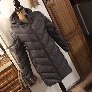 Attention full length ultra thin puffer coat